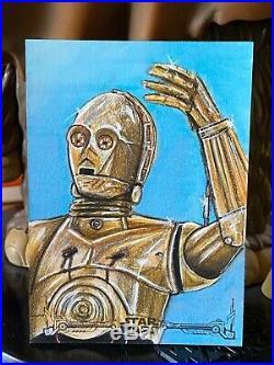 Star Wars Topps Artist Sketch Card 1/1 C-3PO Mohammad Jilani