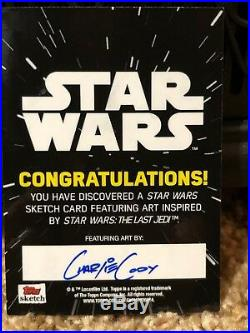 Star Wars Topps Artist Sketch Card 1/1 Commander Leia by Charlie Cody