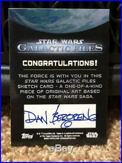 Star Wars Topps Artist Sketch Card 1/1 Dan Bergren Force Awakens Kylo Ren