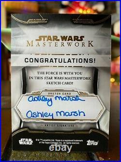 Star Wars Topps Artist Sketch Card 1/1 Darth Maul by Ashley Marsh