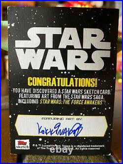 Star Wars Topps Artist Sketch Card 1/1 Falcon Space Landscape by Kokkinakas