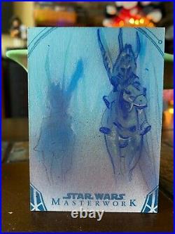 Star Wars Topps Artist Sketch Card 1/1 Gungans by Matthew Hirons