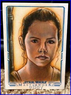 Star Wars Topps Artist Sketch Card 1/1 Huy Truong Force Awakens Rey Masterwork