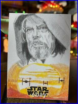Star Wars Topps Artist Sketch Card 1/1 Luke Skywalker by Marcia Dye