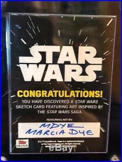 Star Wars Topps Artist Sketch Card 1/1 Marcia Dye Padme Amidala