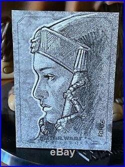Star Wars Topps Artist Sketch Card 1/1 Masterworks Padme Amidala Lee Kohse