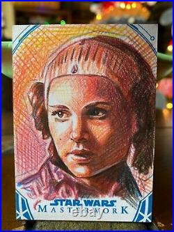 Star Wars Topps Artist Sketch Card 1/1 Padme Amidala Angelina B
