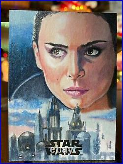 Star Wars Topps Artist Sketch Card 1/1 Padme Amidala Marcia Dye