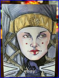 Star Wars Topps Artist Sketch Card 1/1 Padme Amidala Mike Mastermaker