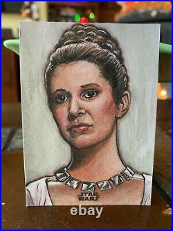 Star Wars Topps Artist Sketch Card 1/1 Princess Leia by Darrin Pepe
