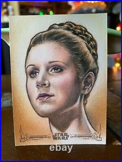 Star Wars Topps Artist Sketch Card 1/1 Princess Leia by Huy Truong