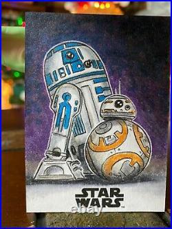 Star Wars Topps Artist Sketch Card 1/1 R2-D2 BB-8 by Nick Justus