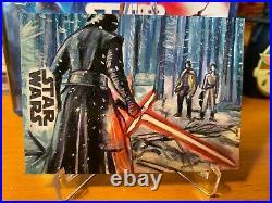 Star Wars Topps Artist Sketch Card 1/1 Rey Kylo Battle Lee Lightfoot
