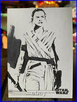 Star Wars Topps Artist Sketch Card 1/1 Rey by Rob T
