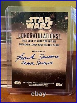 Star Wars Topps Holocron Artist Sketch Card 1/1 Mandalorian by Frank Sansone