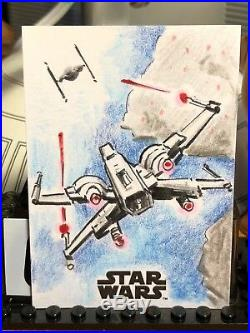 Star Wars Topps Licensed Artist Sketch Card 1/1 X-Wing in Pursuit by Brady J