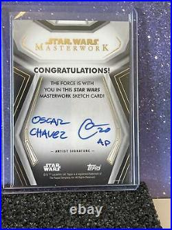 Star Wars Topps Masterwork 2020 Sketch Card Porg 1/1 Oscar Chavez Artist Proof
