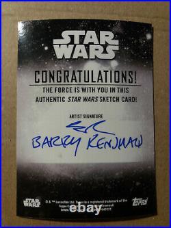 The Child Baby Yoda Topps Star Wars Holocron 2020 Artist Return Sketch Card