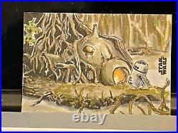 Topps Star Wars Artist Sketch Card 1/1 Dagobah Darren Colburn James