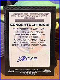 Topps Star Wars Artist Sketch Card 1/1 Han Solo by Lord Mesa Chrome