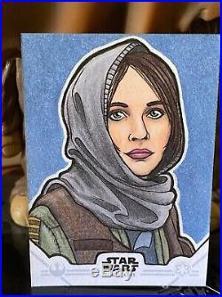 Topps Star Wars Artist Sketch Card 1/1 Jyn Erso by Kyle Hickman