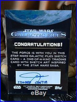 Topps Star Wars Artist Sketch Card 1/1 Luke Skywalker Darth Vader Edward Santia