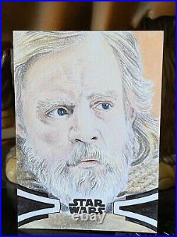 Topps Star Wars Artist Sketch Card 1/1 Luke Skywalker Lindsey Greyling