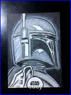 Topps Star Wars FINEST 1/1 Sketch Card BOBA FETT Artist Return
