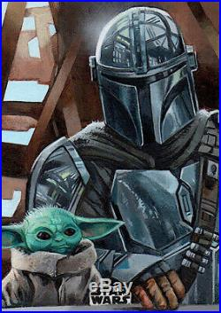 Topps Star Wars Finest Mandalorian Painted Sketch Card Artist Proof Mallinson