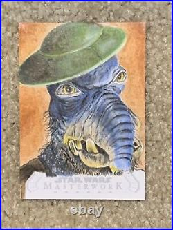 Topps Star Wars Masterwork sketch card of Watto by artist Paul Shiers