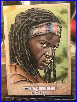 Topps The Walking Dead Artist Sketch Card 1/1 Michonne by Anthony Skubis