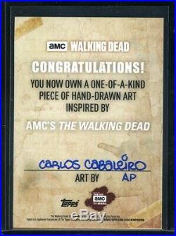 Topps The Walking Dead Sketch Card Carlos Cabaleiro AP Artist Proof Daryl Dixon