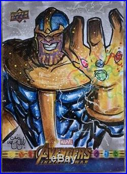 UD Avengers Infinity War 1/1 THANOS Artist Sketch Card by CHRIS McJUNKIN