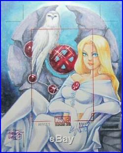UnCut Marvel EMMA FROST White Queen 1/1 Artist Proof AP Sketch Card Rittenhouse