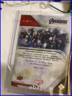 Upper Deck Marvel Avengers endgame artist sketch card Bruce Banner Hulk