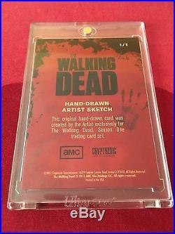 Walking Dead Season 1 Hand Drawn Artist Rich Molinelli Sketch Card Rare 1/1