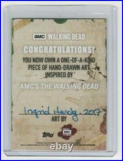 Walking Dead Season 6 Painted Sketch Card By Acclaimed Artist Ingrid Hardy #1