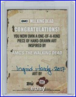 Walking Dead Season 6 Painted Sketch Card By Acclaimed Artist Ingrid Hardy #2