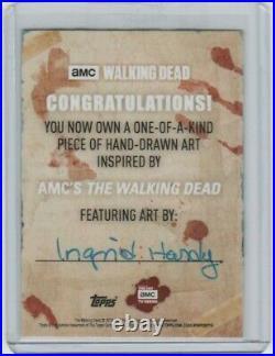 Walking Dead Season 8 Painted Sketch Card By Acclaimed Artist Ingrid Hardy